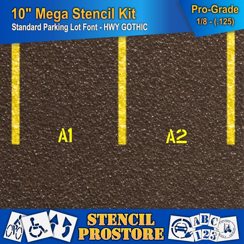 Pavement Stencils -10 inch MEGA Alpha/NUM Set - (64 Piece) - 10'' x 7.5'' x 1/8'' (128 mil) - Pro-Grade by Stencil ProStore (Image #4)