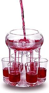 6 Shot Glass Dispenser Shot Buddy Dispenser with Stoppers for Fulling Liquid Beverage Wine Cocktail Liquor Bar Party Drink Dispenser