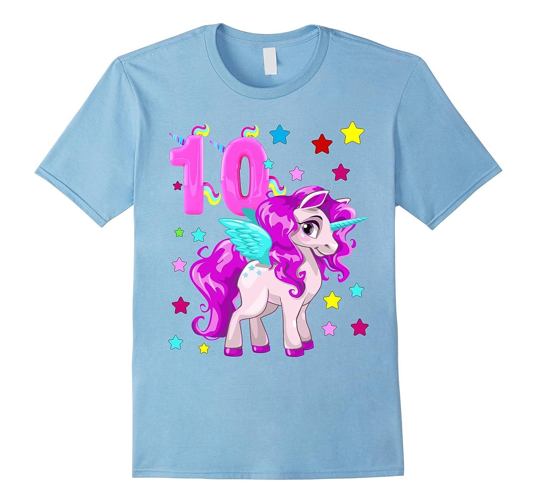 New Edition Little Girl 10 Year Old Unicorn 10th B-day Shirt-FL