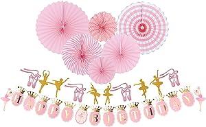 Ballet Birthday, Ballet Dancer Party Supplies Baby Girl Favor, Happy Birthday Banner-Ballet Girls Dancer Banner Garland for Birthday Party Favors Decor Ballerina Birthday Party Decoration