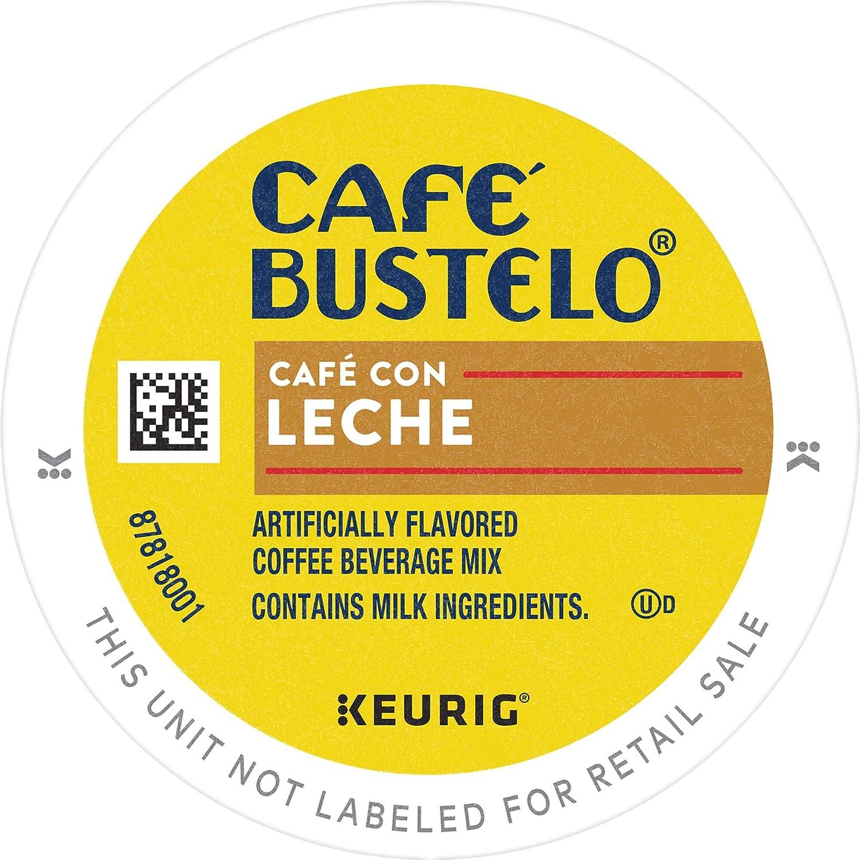 Café Bustelo Coffee Café Con Leche Flavored Espresso Style Coffee, 96 K Cups for Keurig Coffee Makers