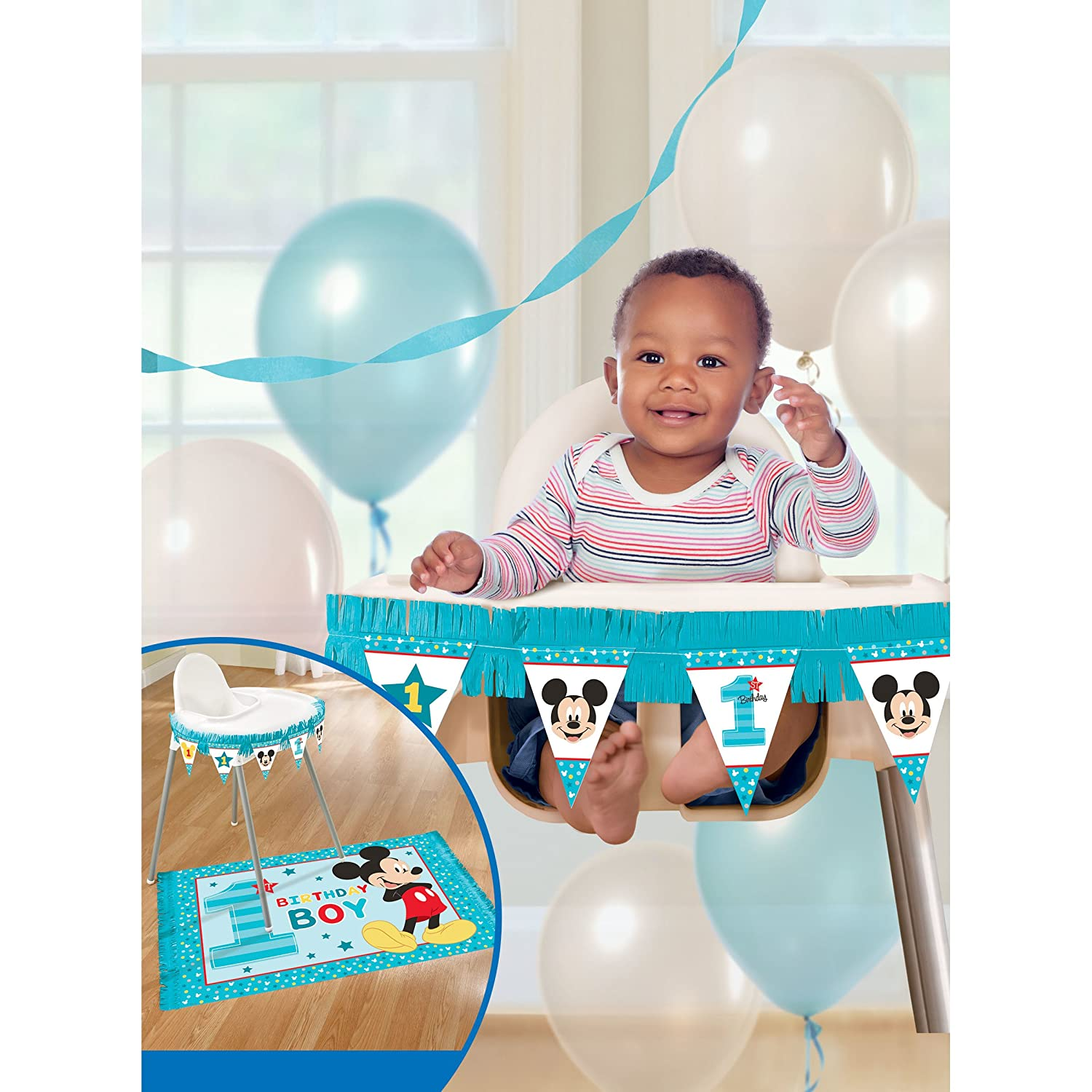 241592 Amscan 1st Birthday Mickey Mouse High Chair Decorating Kit Party Supplies Mickey Fun to be One