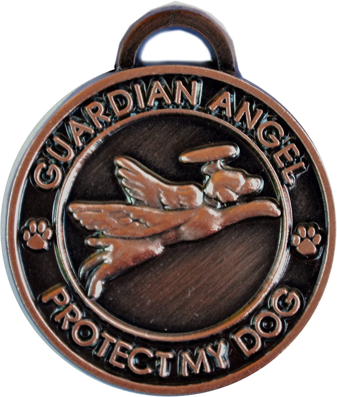 Luxepets Pet Collar Charm Antique Copper Guardian Angel Dog
