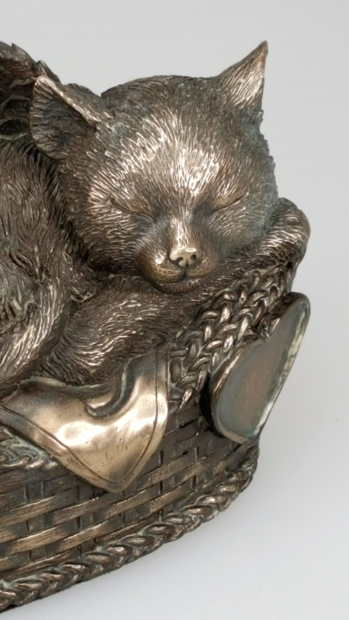 Windhaven Urns Pet Memorial Angel Cat Sleeping in Basket Cremation Urn Bronze Finish Bottom Load 30 Cubic Inch