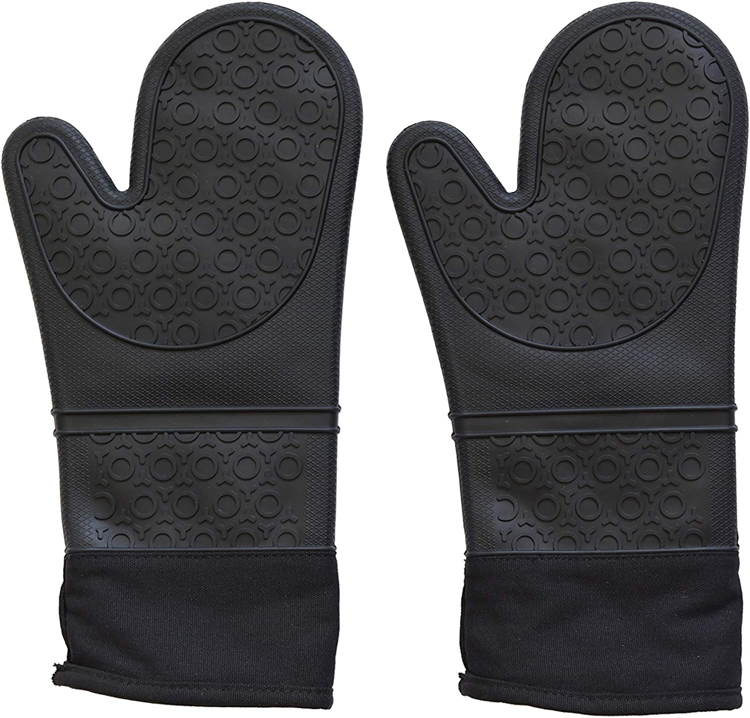 Q's INN Silicone Pot Holders and Oven Mitts with Quilted Liner Heavy Duty Extra Long Heat Resistant -40°F - 460°F Non Slip Textured Grip Food Grade Silicone No Odor No Staining Pair of 2 Black