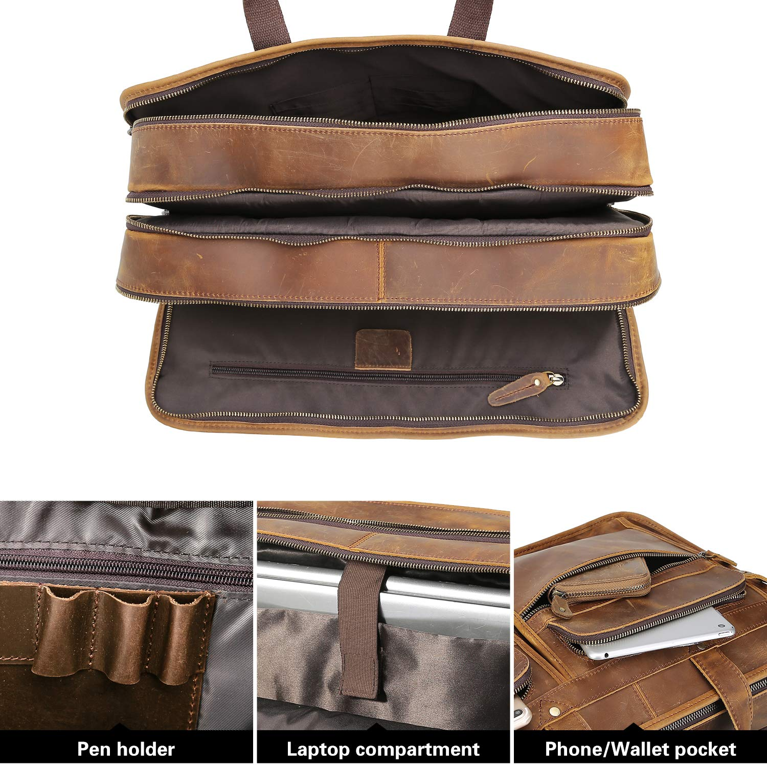 Polare Men's 17'' Full Grain Leather Messenger Bag for Laptop Briefcase Tote by Polare (Image #6)