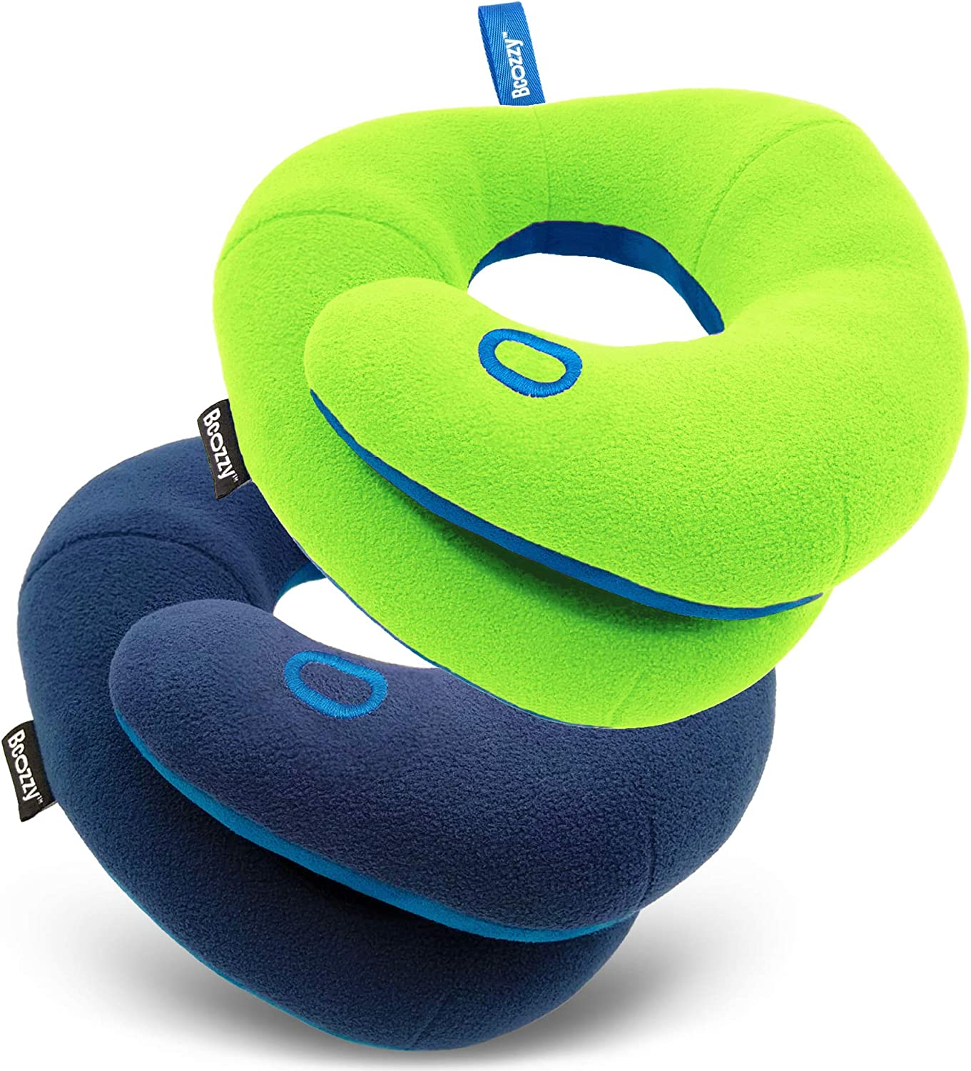 Neck and Chin Support Navy BCOZZY Kids Bundle- 2 Travel Neck Pillows for Toddlers- Super Soft Head Green for Comfortable Sleep in Car Seat Booster and Plane- Washable