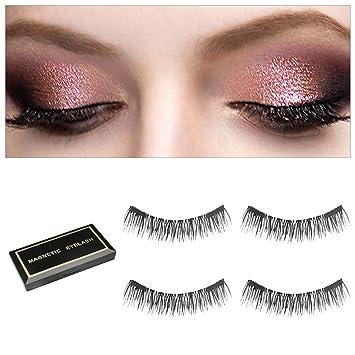 2bcde1d1be4 Magnetic Eyelashes [Upgrade], Dual Magnet No Glue Fake Natural Reusable 3D  Eyelash,