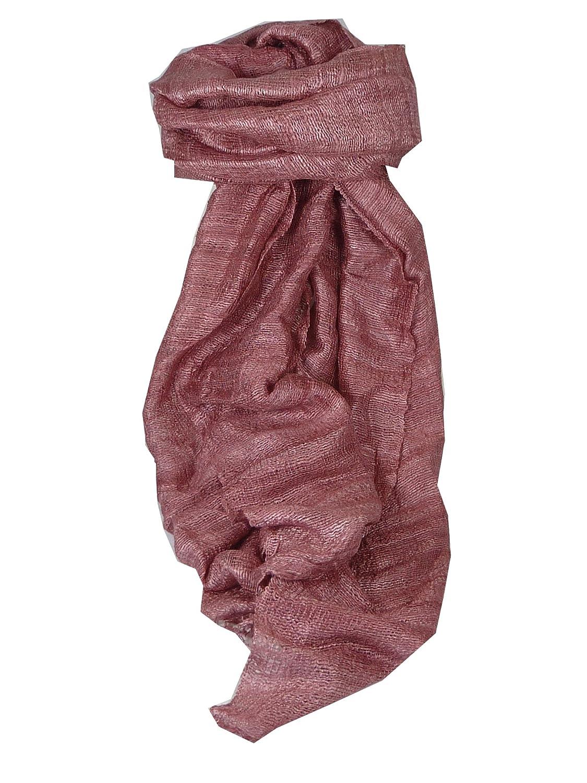 Pure Raw Silk Long Scarf Hanoi Weave Plum by Pashmina & Silk