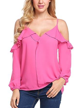 bcd699dea0f69 Amazon.com  UNibelle Women s Chiffon Blouse Cold Shoulder Strap Long ...