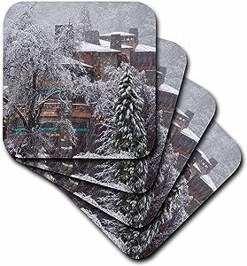 3dRose CST_88310_1 Ahwahnee Lodge, Yosemite NP, California, USA - US05 CHA0117 - Chuck Haney - Soft Coasters, Set of 4
