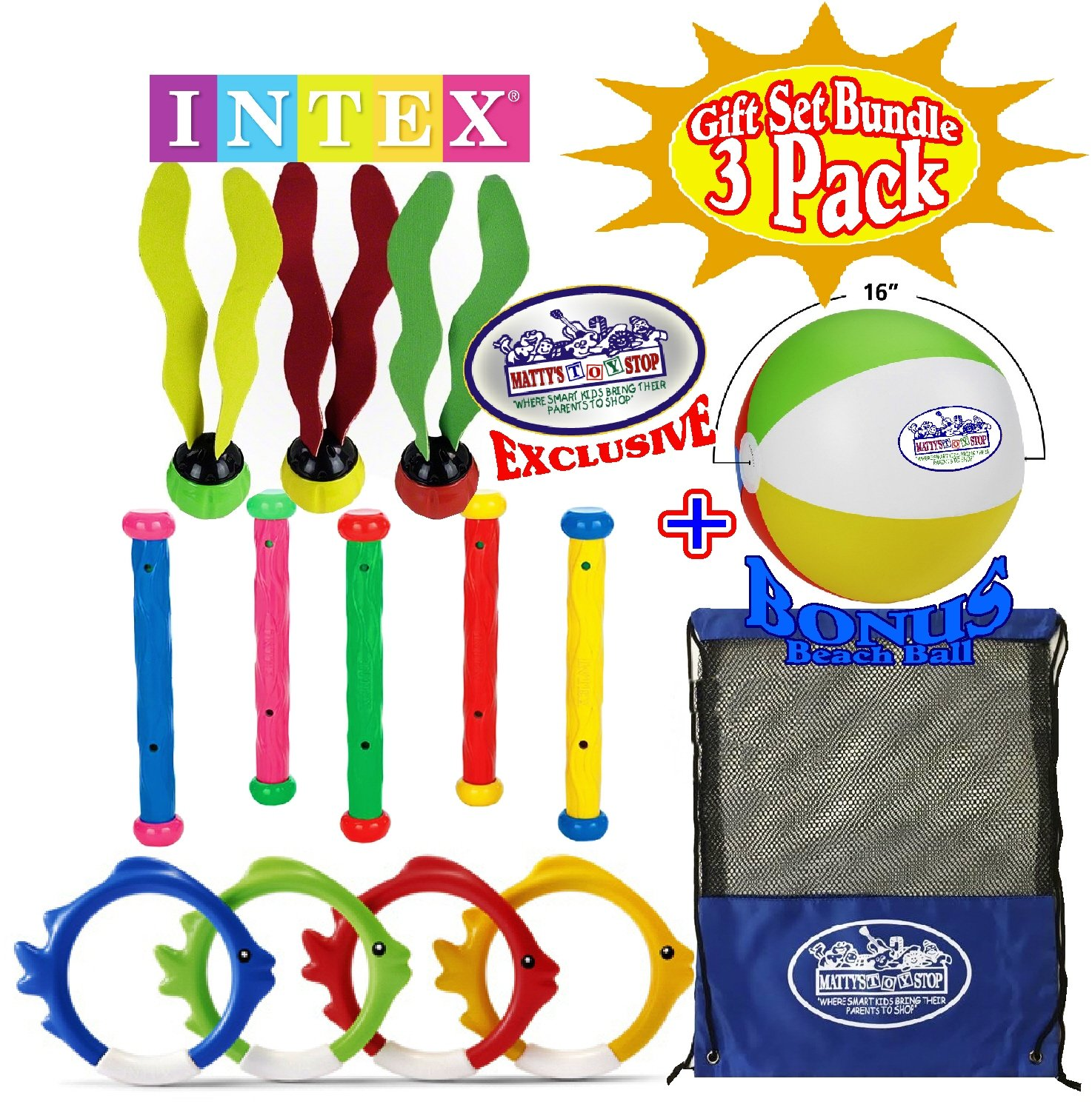 Intex Deluxe Underwater Swimming Pool Toy (4 Rings), Diving Sticks (5) Aquatic (3) Gift Set with Bonus Matty's Toy Stop 16'' Beach Ball and Mesh Storage Bag-3 Pack