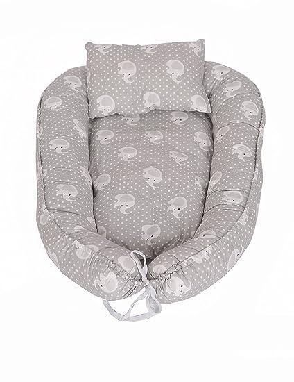 myhoppi Baby Nest, cuna de viaje, cambiador, manta multifuncional Nido para bebés y lactantes, Baby de nido Cuna 100% algodón (80 x 45 cm) gris ...