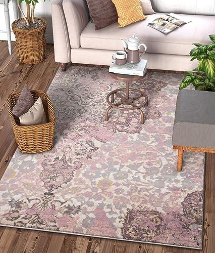 Stella Lavender Vintage Shiraz Medallion Modern 8×11 7 10 x 10 6 Area Rug Purple Distressed Oriental Carpet