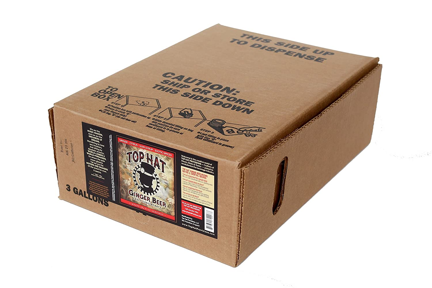 Top Hat Ginger Beer Soda Syrup Concentrate for Commercial Bag in Box Soda Gun and Fountain Systems - Bag in Box BIB QCD connection requred