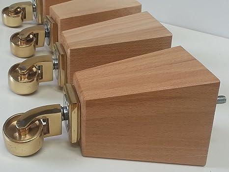 Knightsbrandnu2u 4 x piedini in legno gambe mobili di ricambio in