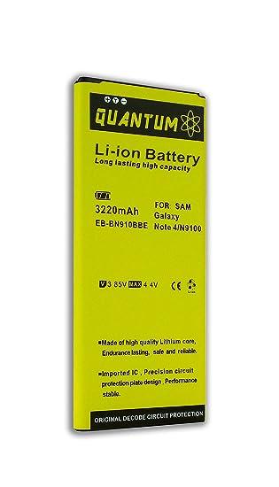 Amazon com: Batería Quantum para Samsung Galaxy Note 4, 3220