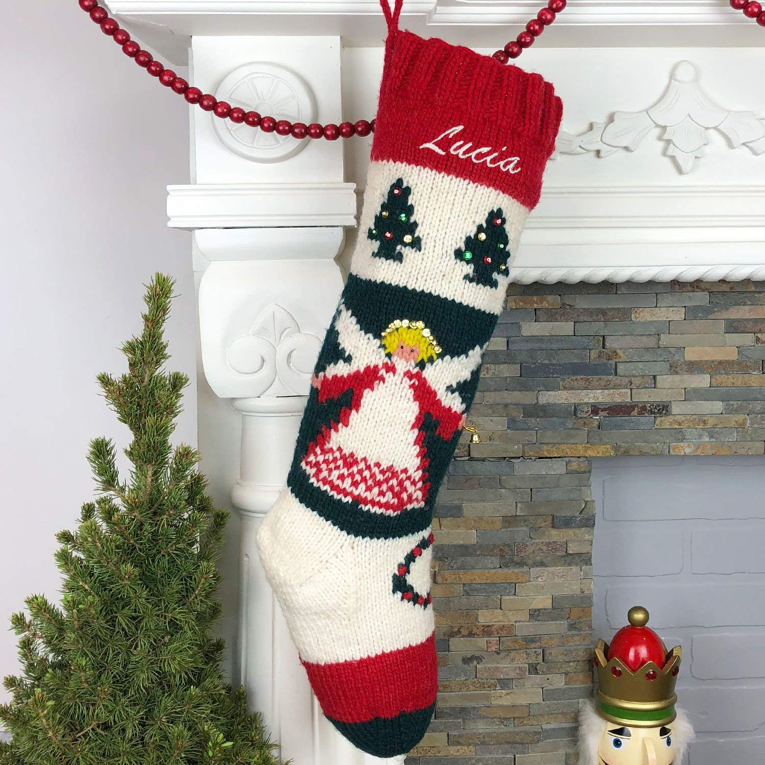 Christmas Stocking Personalized.Christmas Stocking Personalized Hand Knit Vintage Angel Stocking