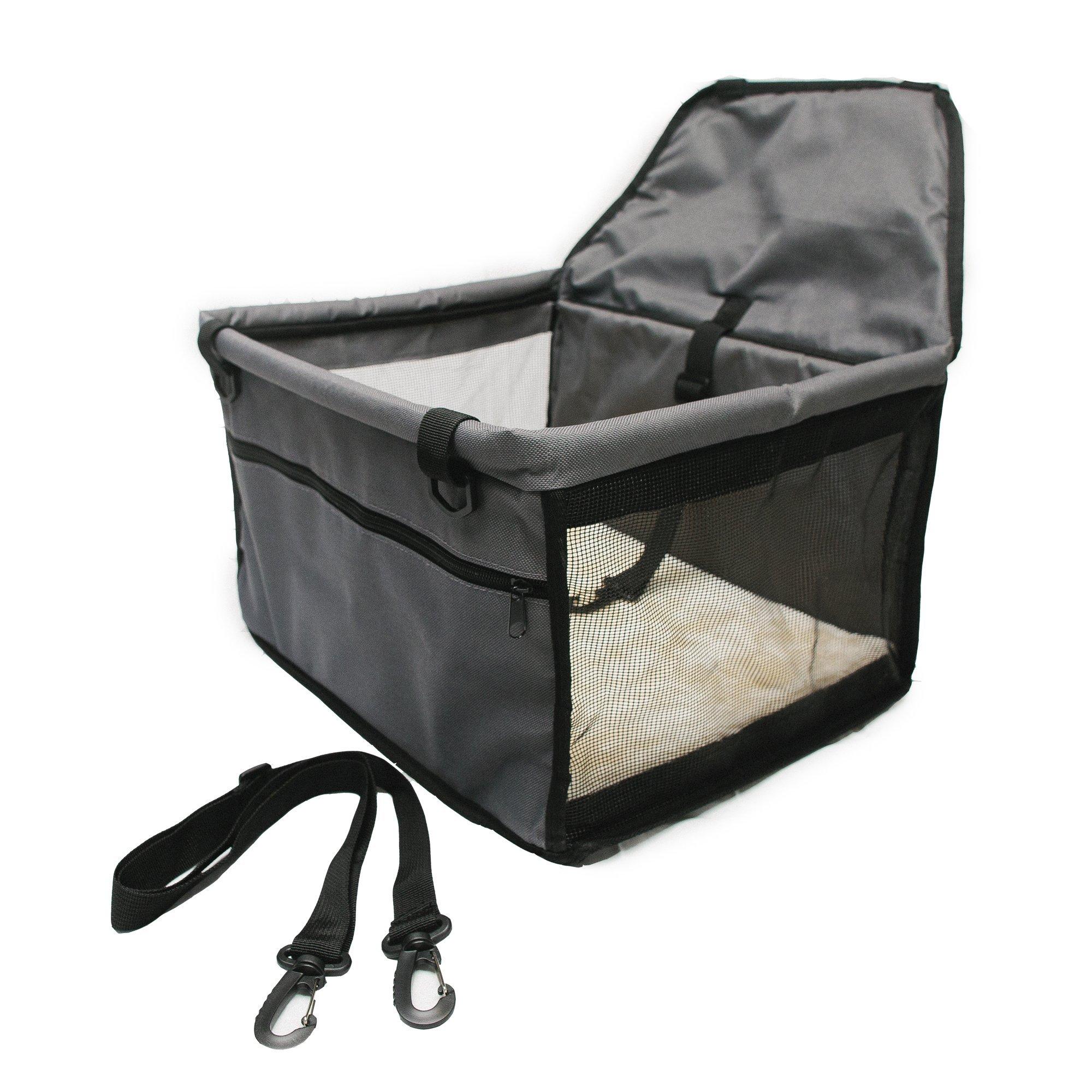 Pet Fun Factory Dog Car Seat Dog Booster Seat, Sturdy Construction Plush Padding, Dark Grey