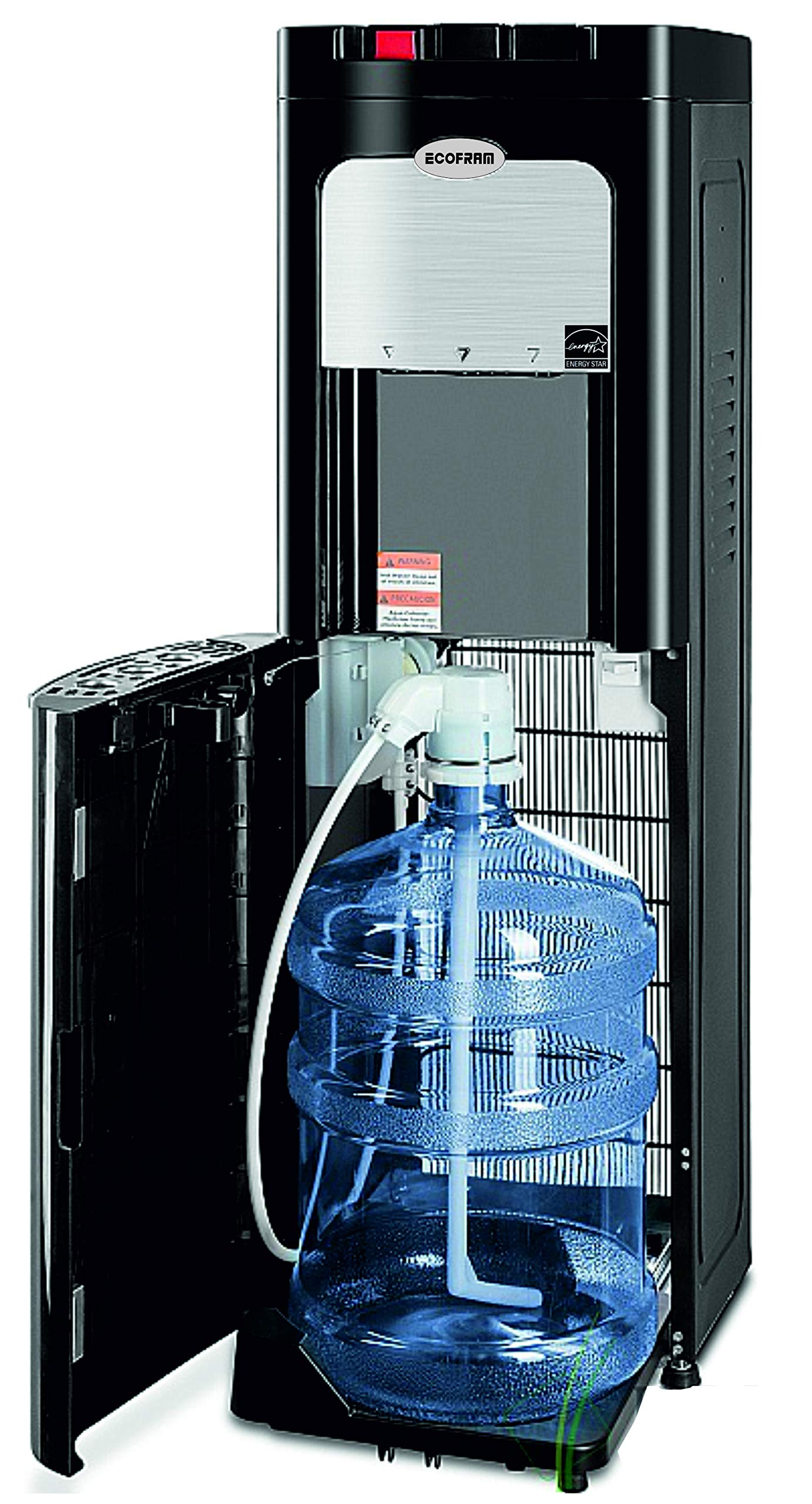 Ecofram Bottom Load Black Stainless Steel Commercial Hot, Cold and Cool Water Cooler Dispenser