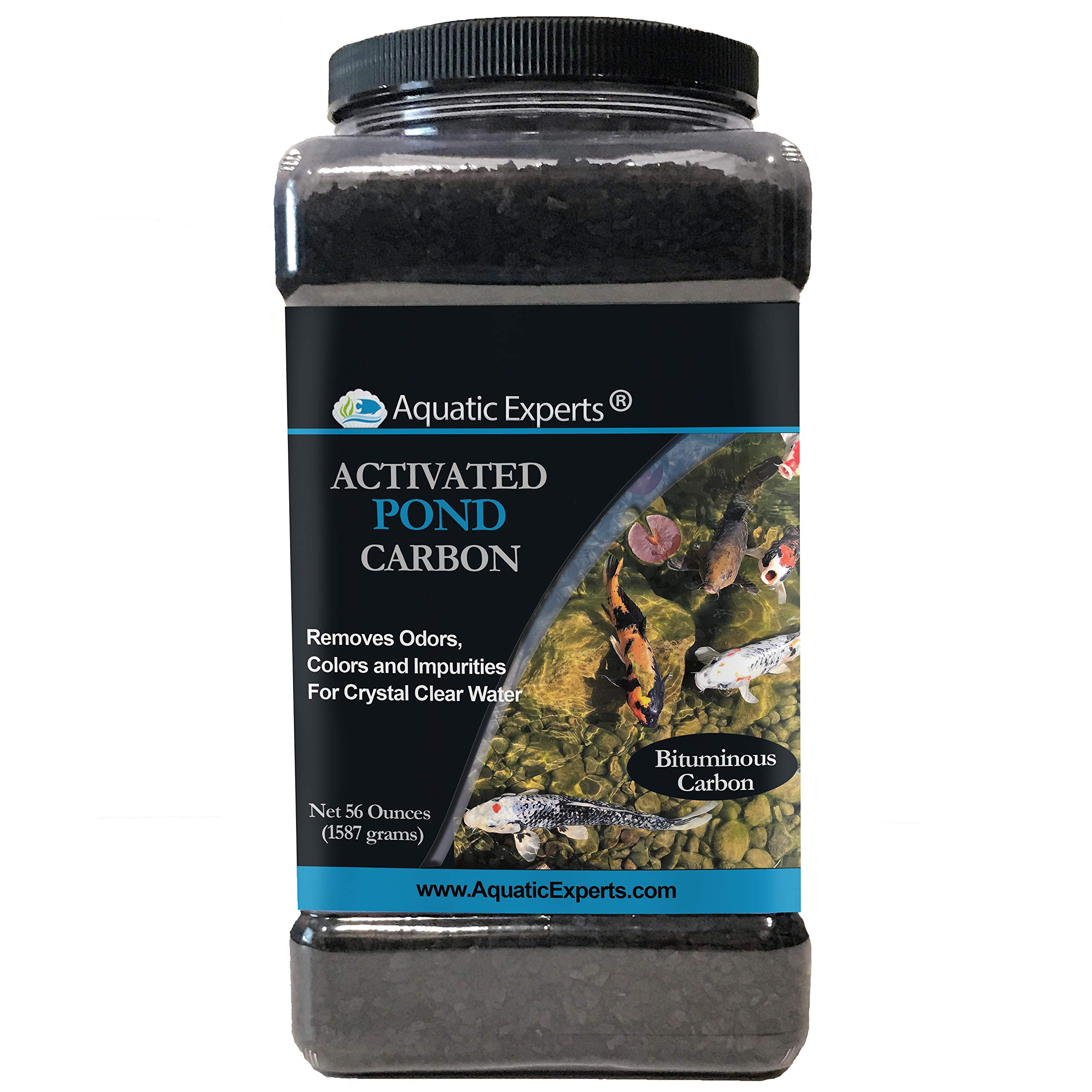 Aquatic Experts Activated Koi Pond Filter Carbon Charcoal - Remove Odors and Discoloration with 56 Ounce Bulk Container for Outdoor Water Gardens USA by Aquatic Experts