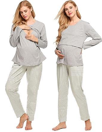 c4b154492aa Goldenfox Nursing Pajama Sets Women s Long Sleeves Cotton Maternity  Sleepwear S-XXL