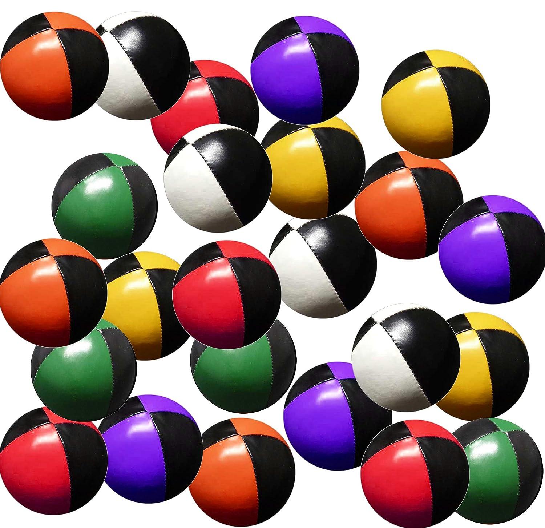 Set 24 Jonglierbälle 62mm 90g jedes (Bi-Farbe je 4) Black & Red, Black & Green, Black & Yellow & Orange, Schwarz und Violett