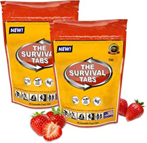 Premium emergency food 96 hours survival tablets none-GMO gluten-free 25 years shelf life (strawberry/2 pouchs)