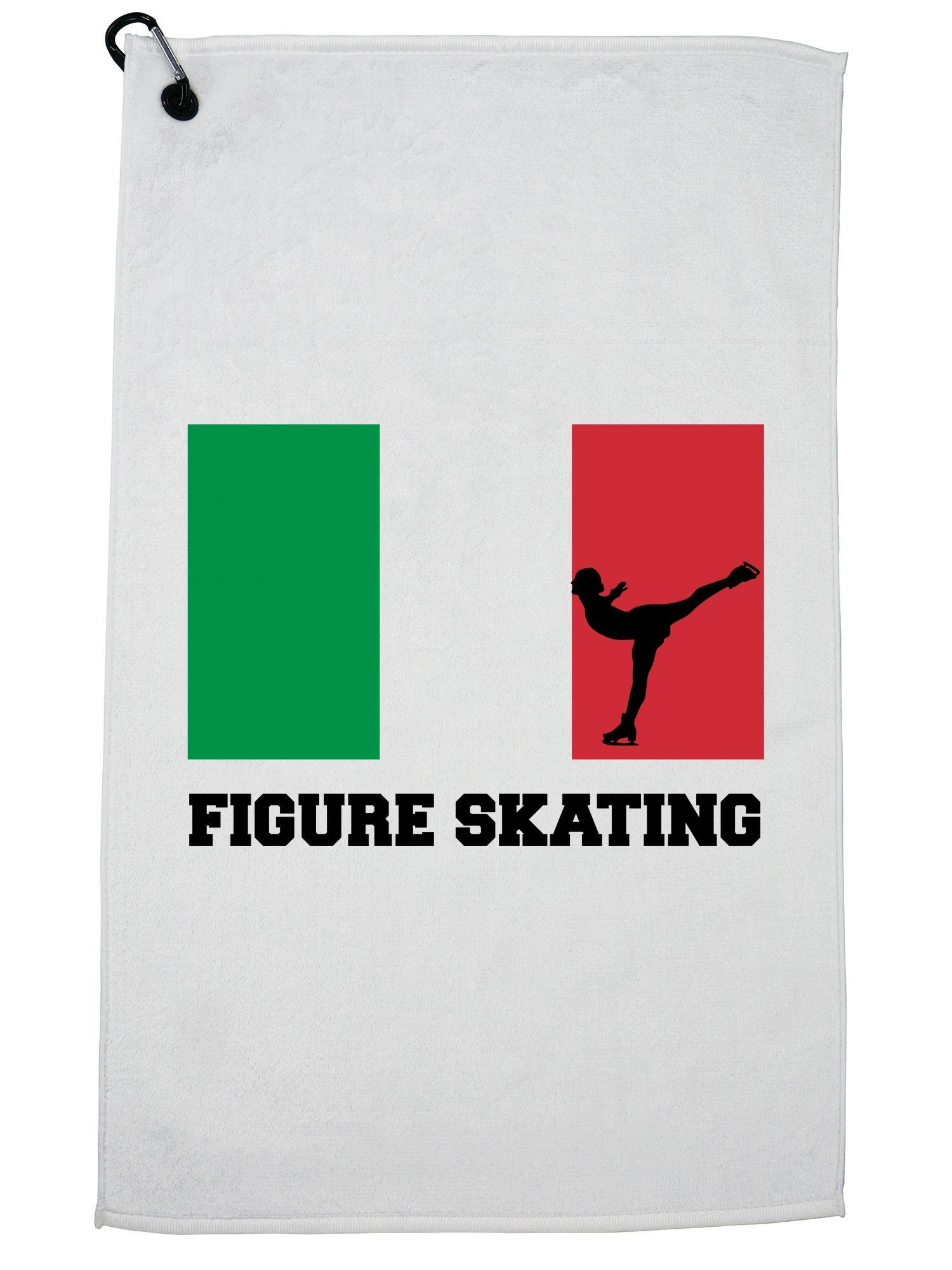 Hollywood Thread Italy Olympic - Figure Skating - Flag - Silhouette Golf Towel with Carabiner Clip