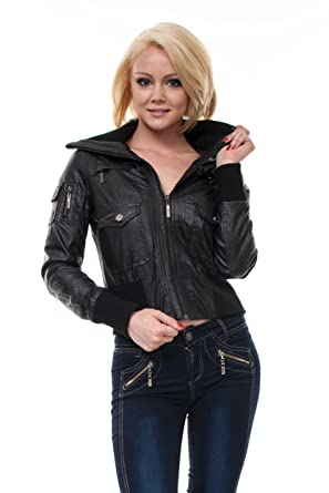 VIRGIN ONLY Womens High-Grade Faux-Leather Jacket-S-Black