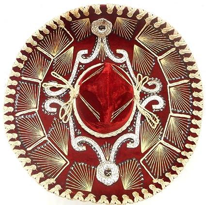 b45f81a95f63d Amazon.com  Red Mexican Charro Mariachi Hat Sombrero with Multi ...