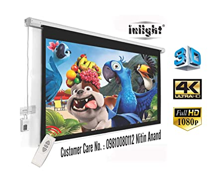 Inlight Imported Motorised Projector Screen, Size:- 6 Ft. (Width) x 4 Ft. (Height), 84 Inches Diagonal, 4:3 Format, Supports 3D and 4K Viewing Projector Accessories at amazon