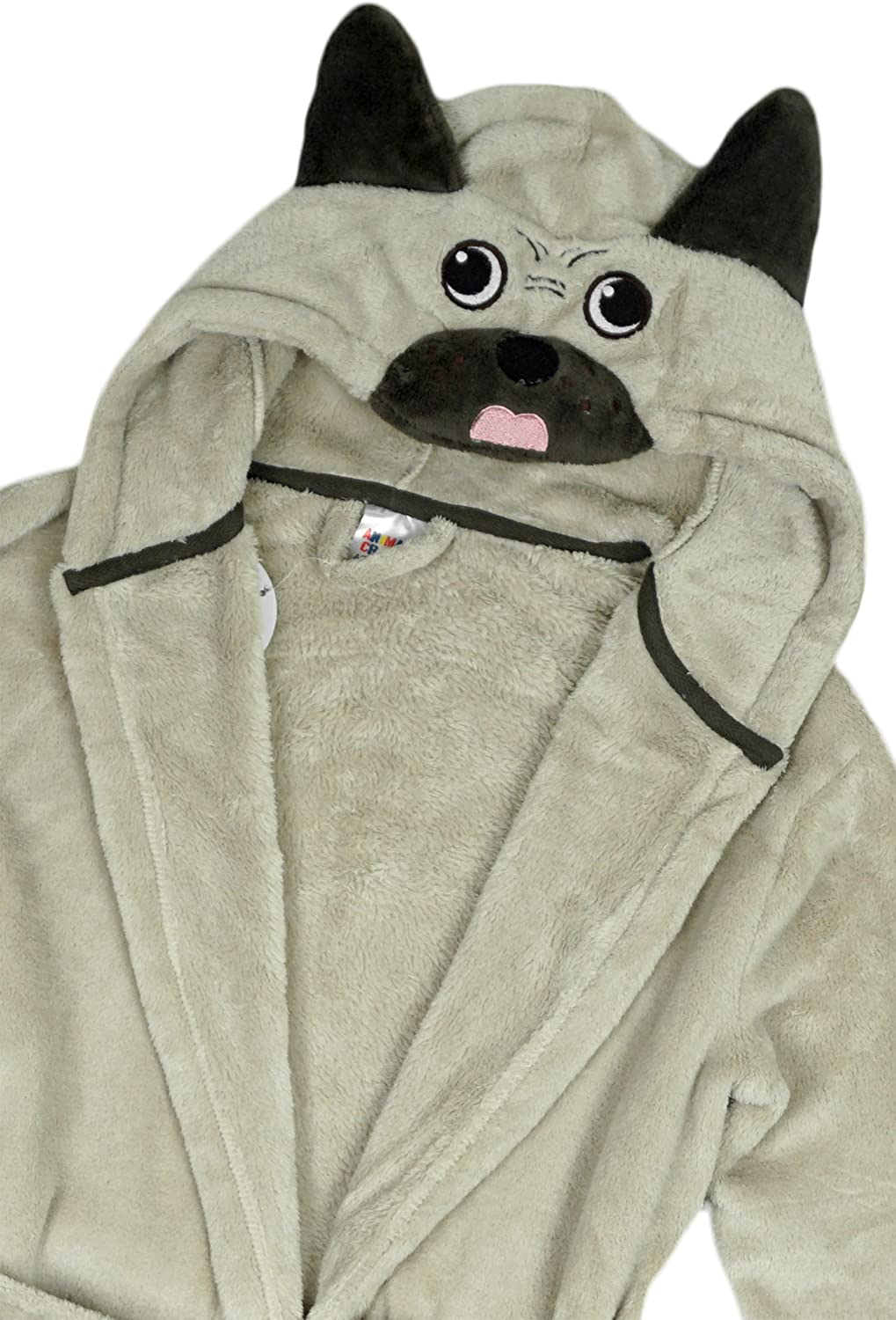 Get Wivvit Girls Pug Face Hooded Puppy Dog Dressing Gown Toddler Bathrobe Sizes from 2 to 4 Years