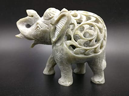Buy elephant hand carved figurine in natural stone with baby