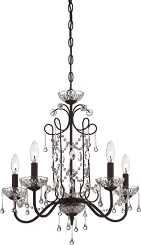 Minka Lavery 3135-298 Crystal Mini Candle Chandelier Lighting, 5 Light, 300 Watts, Kinston Bronze
