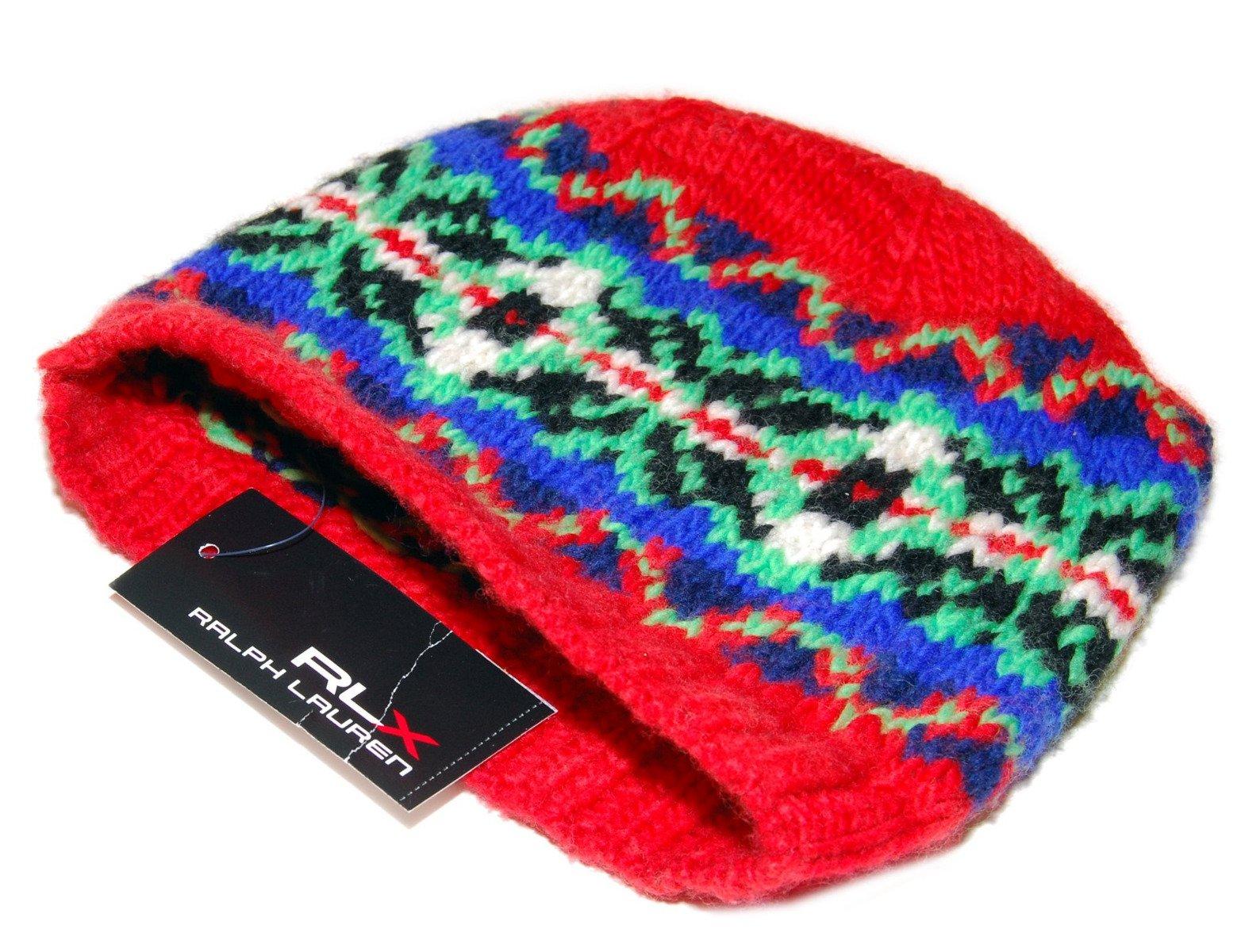 Ralph Lauren RLX Mens Womens Merino Wool Ski Skull Knit Hat Cap Red Blue Green