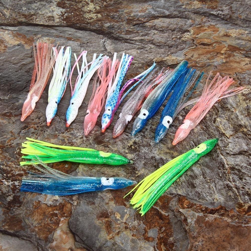 Everpert 20pcs 4,5/Squid Falda Pulpo se/ñuelo de Pesca de Agua Salada Mix Color