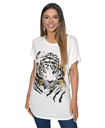 6ddc0d2c4 Krisp Women Oversized Casual Tshirt Baggy Tiger Flower Printed Batwing Tops:  Amazon.co.uk: Clothing