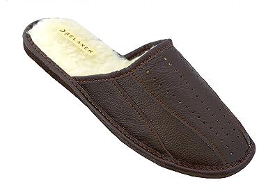 7e3df8632f0e9 Relaxen Chaussures en Cuir Pour Homme Chaussons Pantoufles en Cuir avec De  La Laine Noir Brun