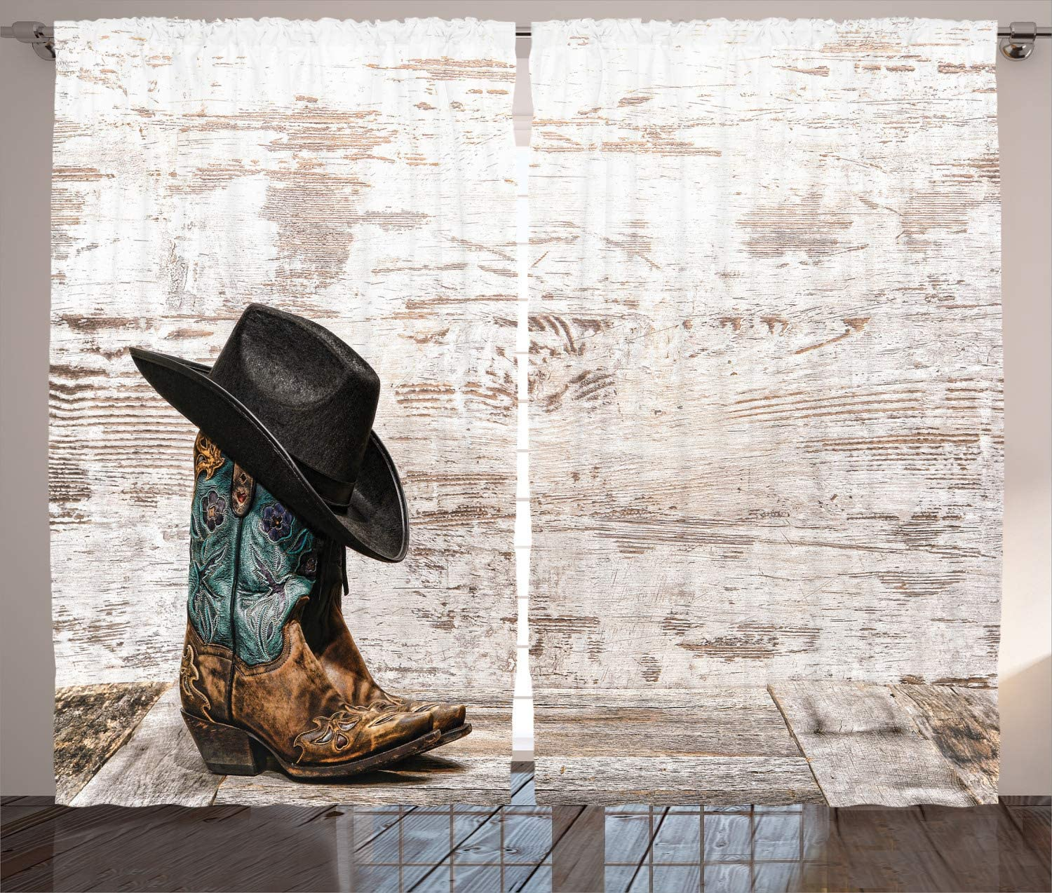 Ambesonne Western Decor Curtains 2 Panel Set, Traditional Rodeo Cowboy Hat and Cowgirl Boots in a Retro Grunge Background Art Photo, Living Room Bedroom Decor, 108 W X 90 L inches, Brown Black