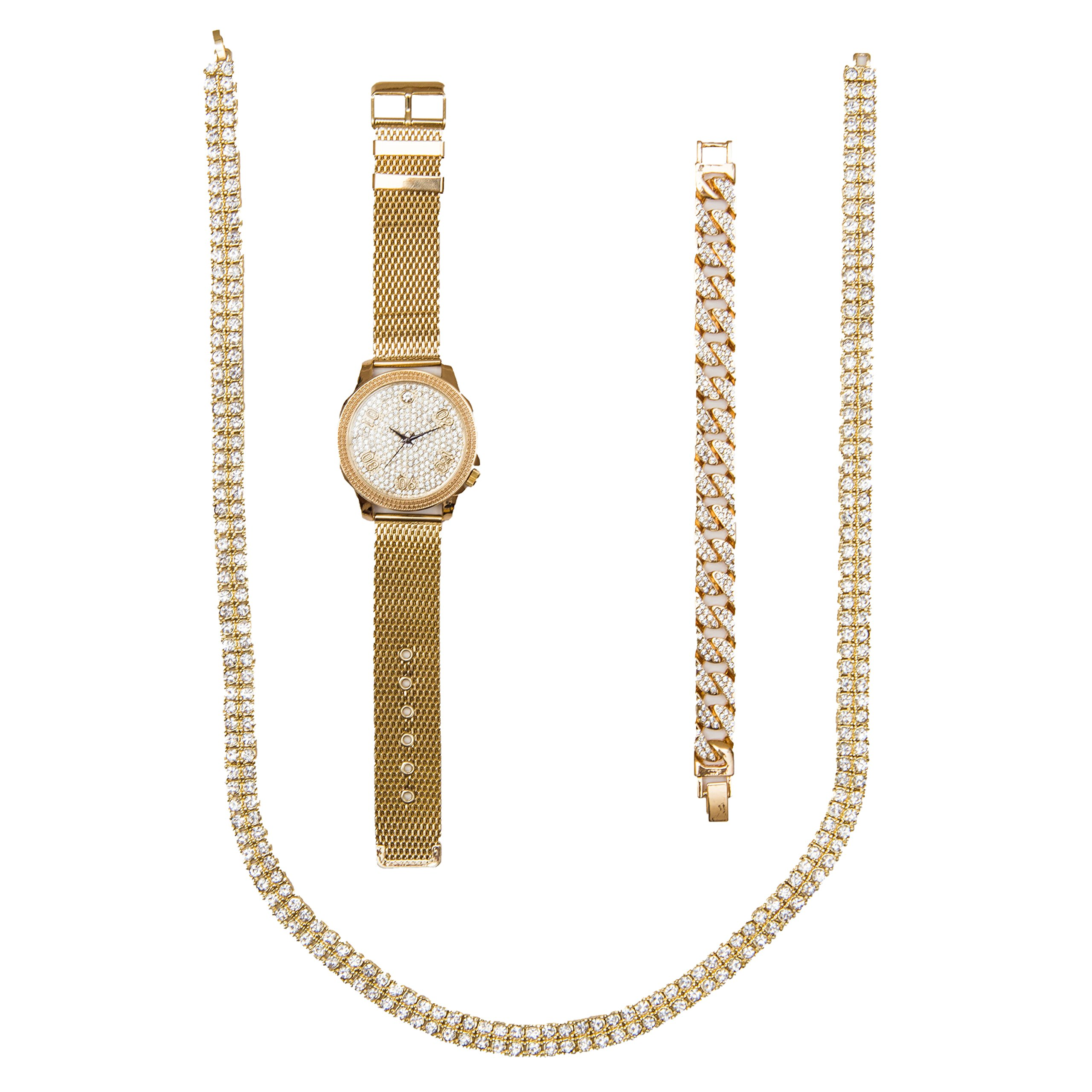Bling-ed Out Flexin' Diamonds on Dial of This Gold Mesh Watch Matching The Diamonds on The Full Crystal Necklace and Matching Ice'd Out Cuban Bracelet - 8423MBN Gold Mesh Cuban