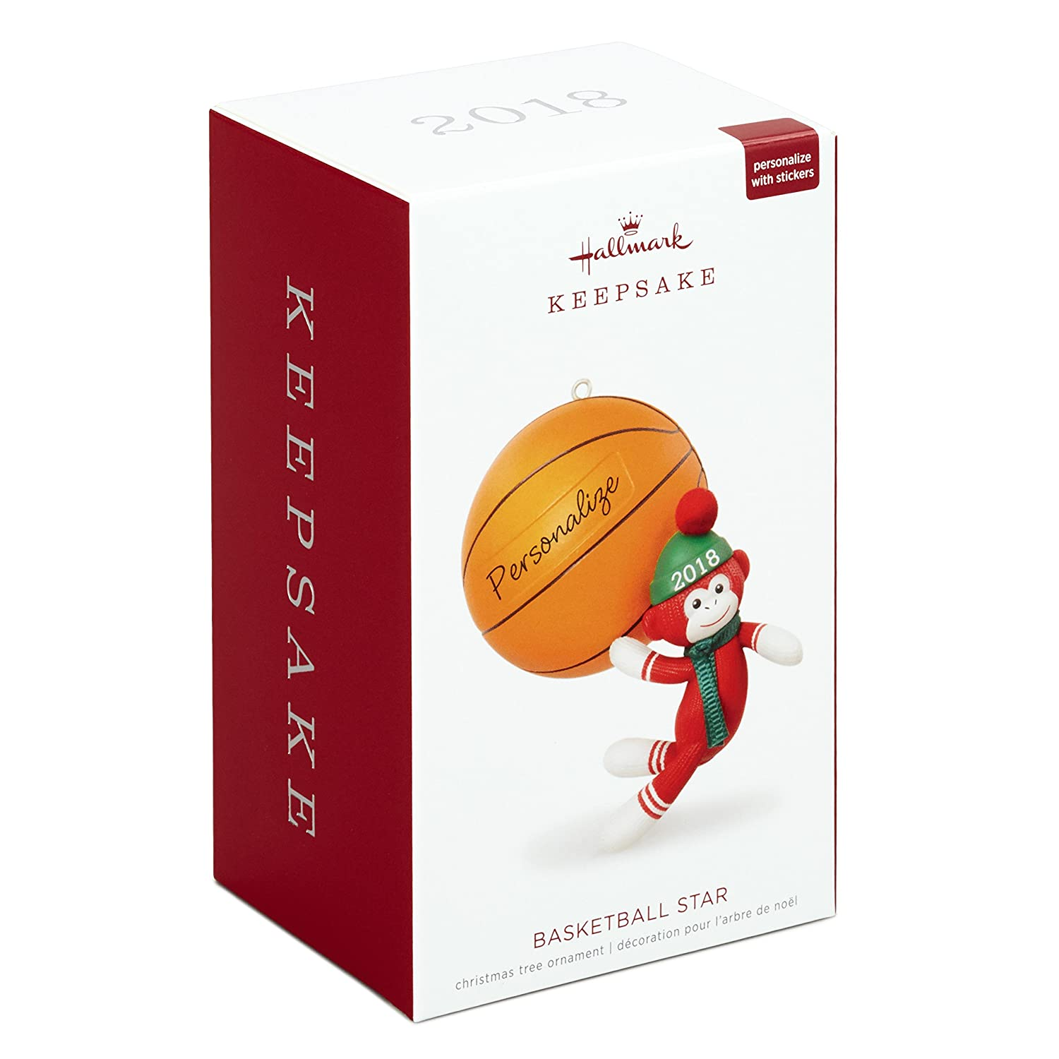hallmark keepsake personalized christmas ornament year dated basketball star sock monkey home kitchen jpg 1500x1500 basketball