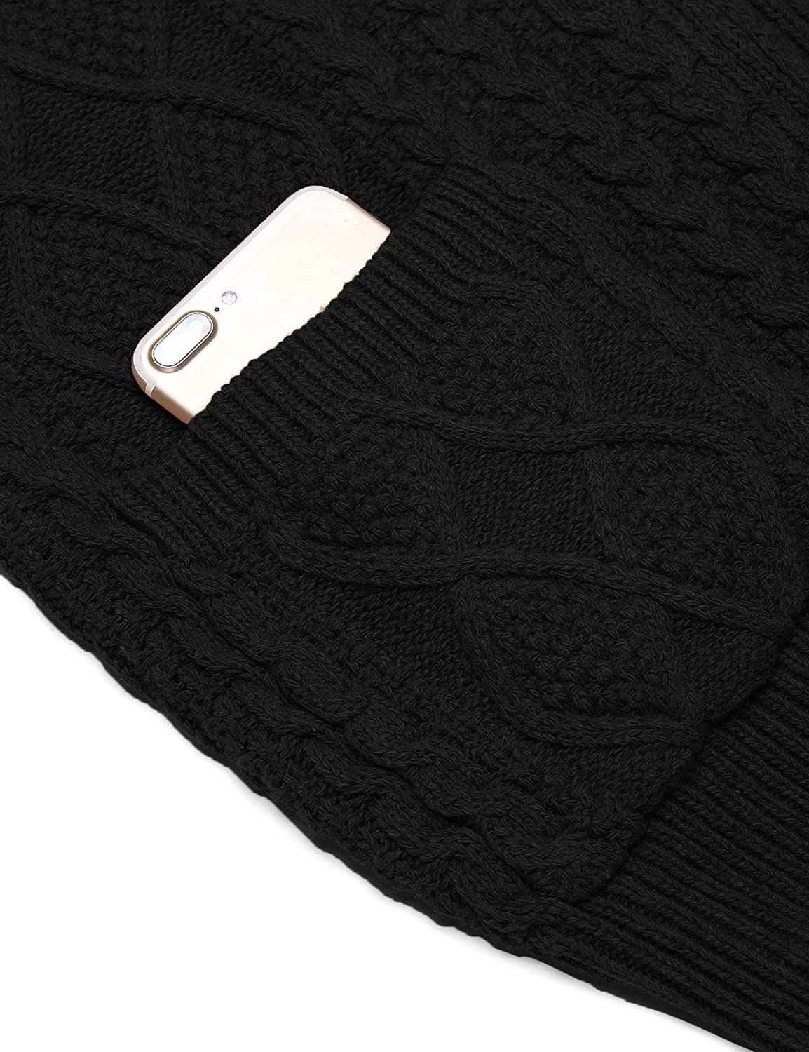 COOFANDY Mens Full Zip Cardigan Sweater Slim Fit Stand Collar Cotton Cable Knitted Sweater Jacket with Pockets