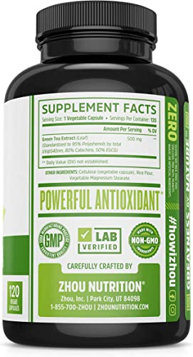 Green Tea Extract Supplement with EGCG for Healthy Weight Support- Metabolism, Energy and Healthy Heart Formula – Gentle Caffeine Source – Antioxidant Free Radical Scavenger – 120 Veggie Capsules