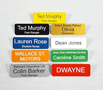 Personalised Acrylic Name Badges with Pin - Pack of 5 - Choice of Colour  and Text - Work, Schools, Shops