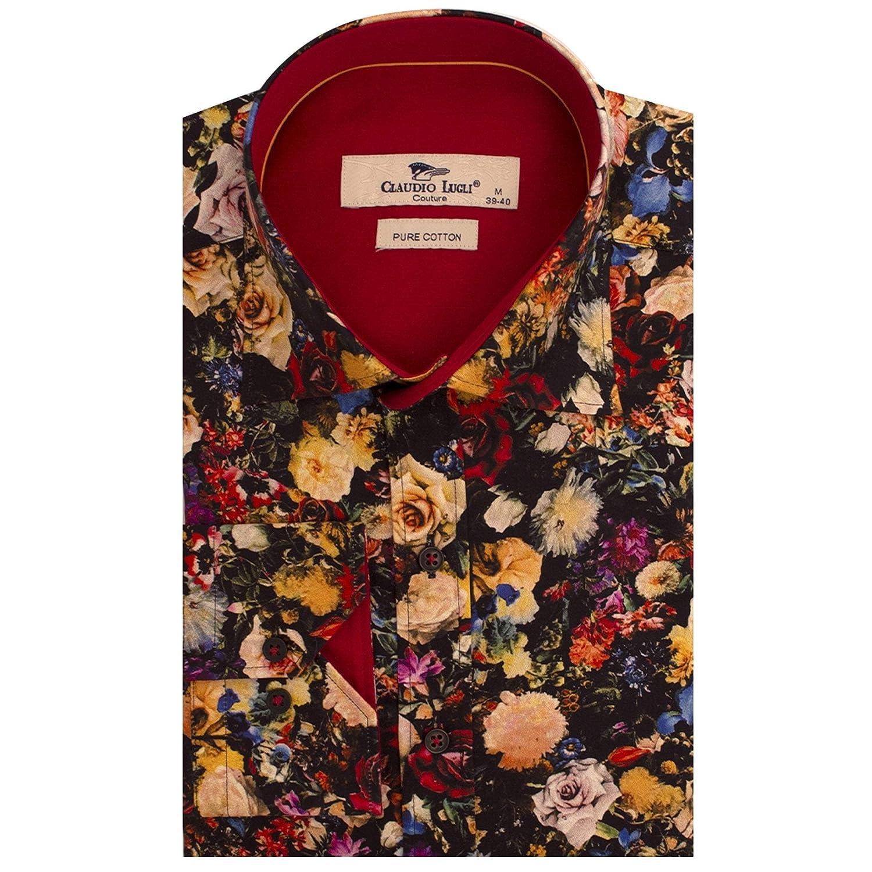 noir XL Claudio Lugli Imprimé Floral Noir Imprimé à Manches Longues Chemise Homme Coton Pur