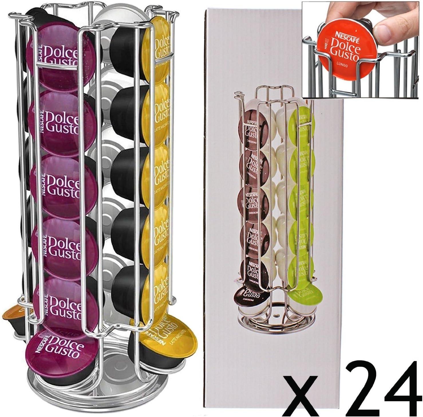 Porte-Capsules Rotatif Pouvant Contenir 24 Capsules Dolce Gusto Acier Chrom/é by XENBORG