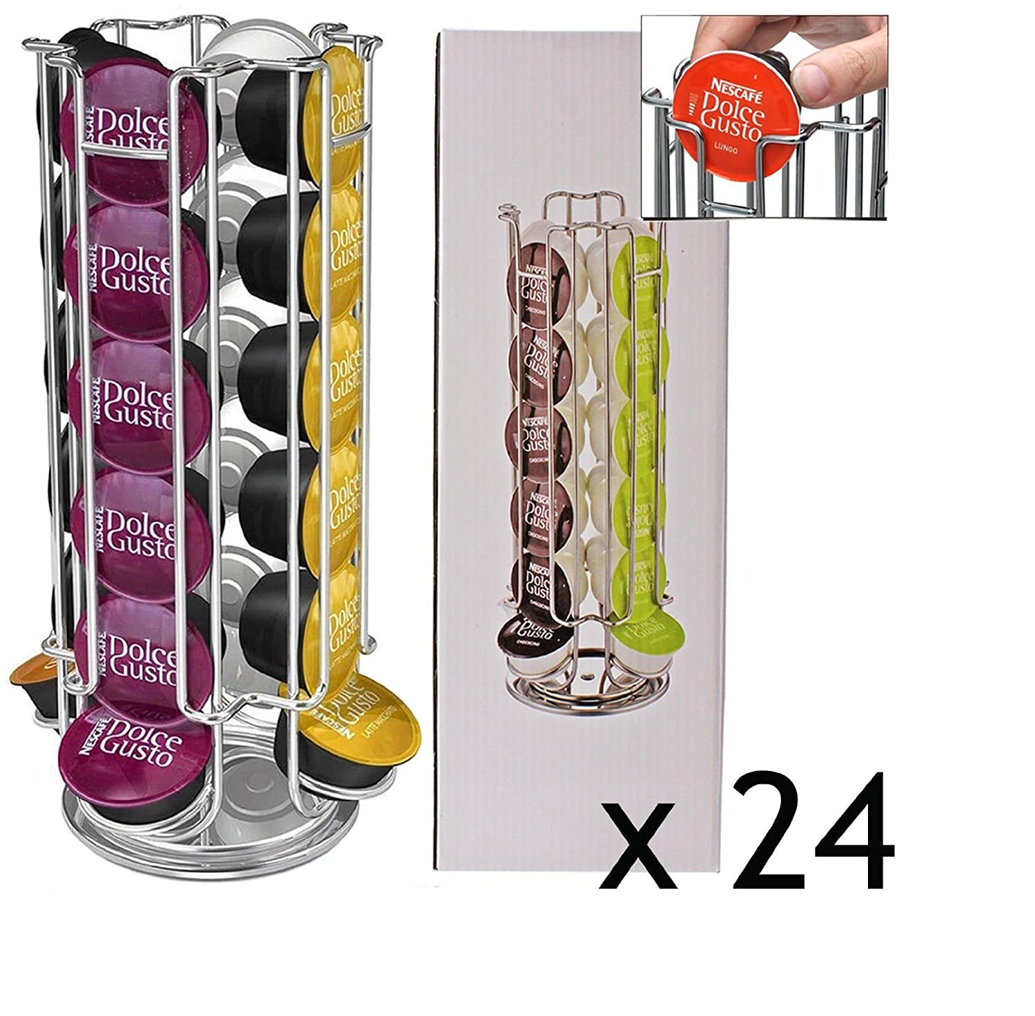 Nescafe Dolce Gusto 24-Coffee Pod Disc Capsule Holder Dispenser Tower Stand, Rotating by RIVENBERT