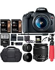 "$438 Get Canon EOS Rebel T7 24MP Camera + EF-S 18-55mm is II Lens (Successor for EOS Rebel T6) + 96GB + 57"" Tripod+ Camera Bag+ Cleaning Kit+ Lexar U3 Memory + 58mm 2X Telephoto & 58mm Wide Angle Lens &More"