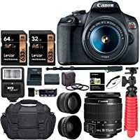 Canon EOS Rebel T7 24MP DSLR Camera EF-S 18-55mm is II Lens with Memory Cards, Bag, Monopod, Flash, Flex-Tripod, Filter Set Bundle